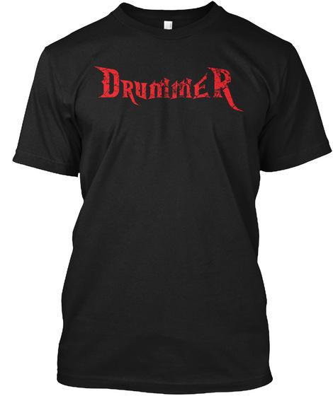 Drummer Black T-Shirt Front