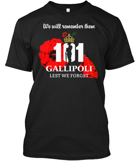 *** Limited Edition *** Lest We Forget Black T-Shirt Front