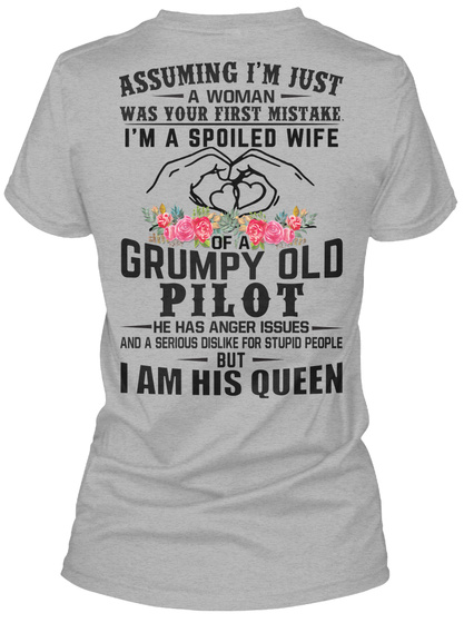 Awesome Pilot's Wife Sport Grey T-Shirt Back