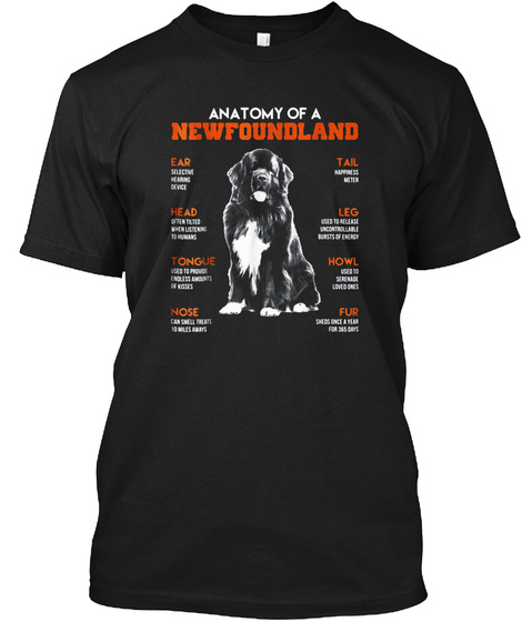 Anatomy Of A Newfoundland Dogs T Shirt F Black T-Shirt Front