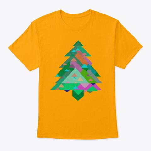 Xmas Digital Christmas Tree Gold T-Shirt Front