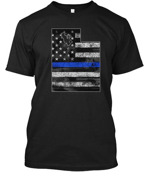 Utah Thin Blue Line Black T-Shirt Front