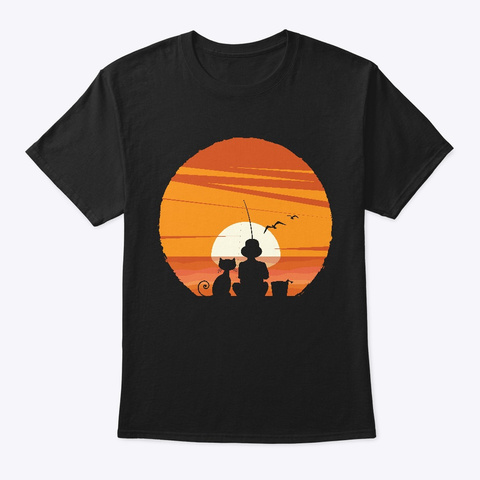 Boy And Cat Fishing At Sunset Black T-Shirt Front