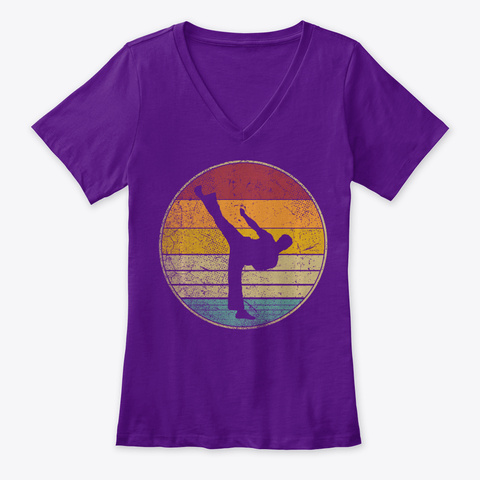 Karate Kung Fu Martial Arts Vintage Team Purple  T-Shirt Front