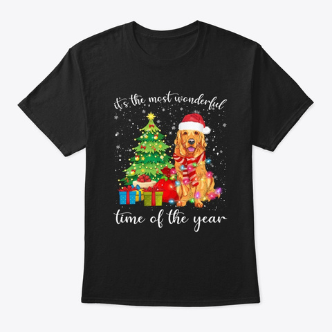 Golden With Merry Christmas Tshirt Black T-Shirt Front