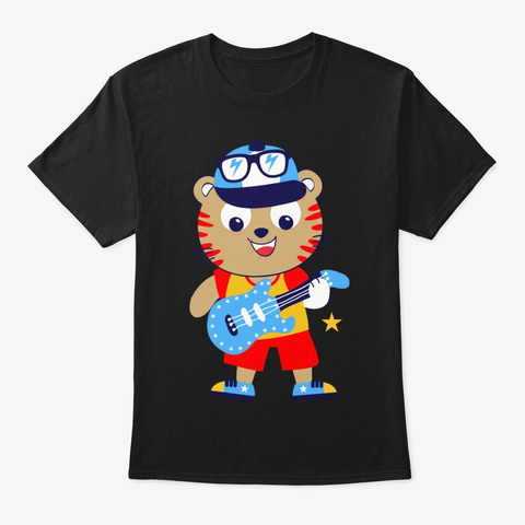 Cute Tiger Playing The Guitar Black T-Shirt Front