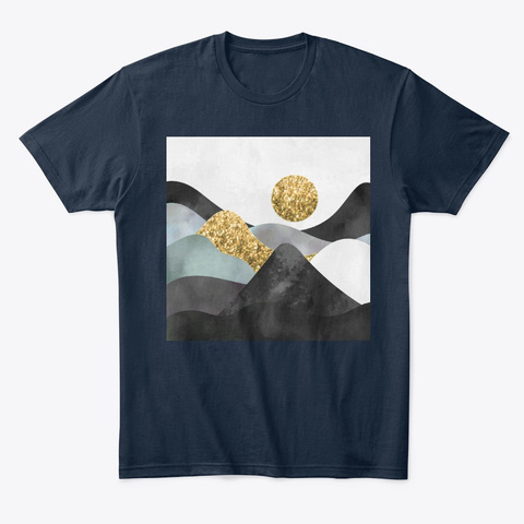 Magical Golden Sun Landscape New Navy T-Shirt Front