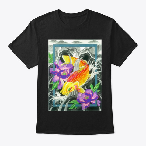 Koi With Peonies Black T-Shirt Front