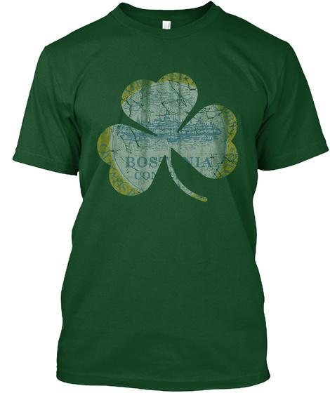Irish Boston Shamrock St Patricks  Deep Forest T-Shirt Front
