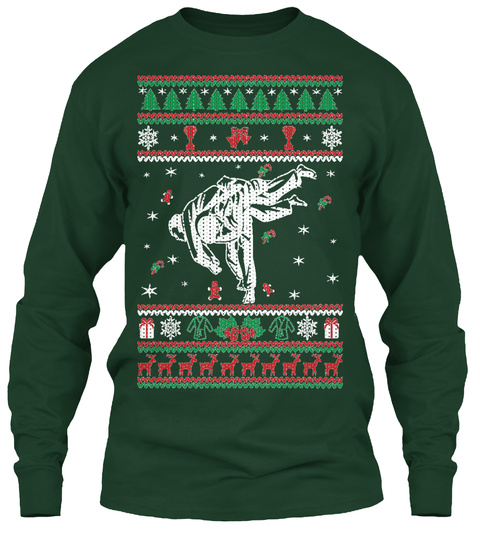 Judo Ugly Christmas  Forest Green T-Shirt Front