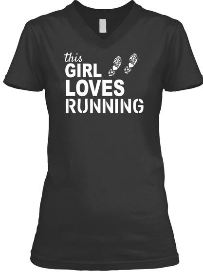 This Girl Loves Running Black T-Shirt Front