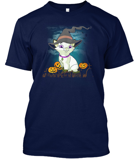 Halloween Cat Lovers T Shirt Navy T-Shirt Front