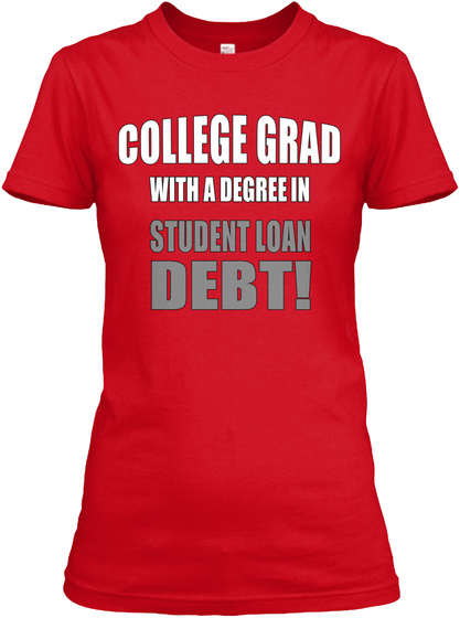 Women's College Grad Fitted Tee Red T-Shirt Front