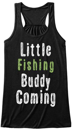 Little Fishing Buddy Coming Black T-Shirt Front