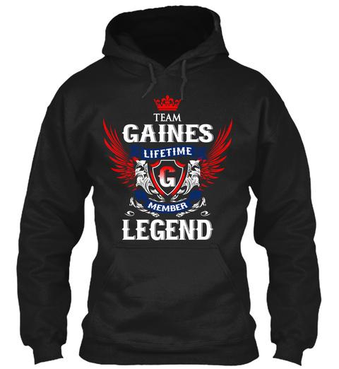 Team Gaines Lifetime Member Legend Black T-Shirt Front