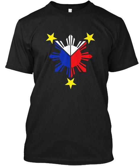 Pinoy Filipino Flag Stars And Sun T Shirt Mens Womens Kids Black T-Shirt Front
