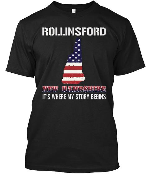 Rollinsford Nh   Story Begins Black T-Shirt Front