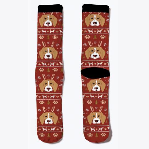 Beagle Holiday Socks Dark Red T-Shirt Front