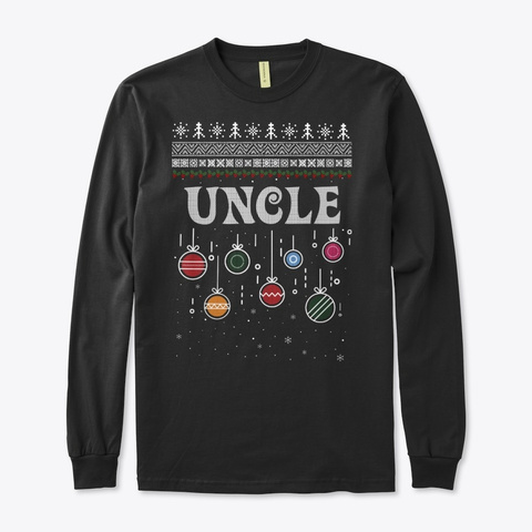Uncle Ugly Christmas Family Sweater Black T-Shirt Front