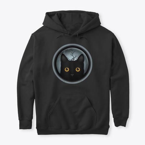 Black Cat Halloween Trick Treat 2 Black T-Shirt Front