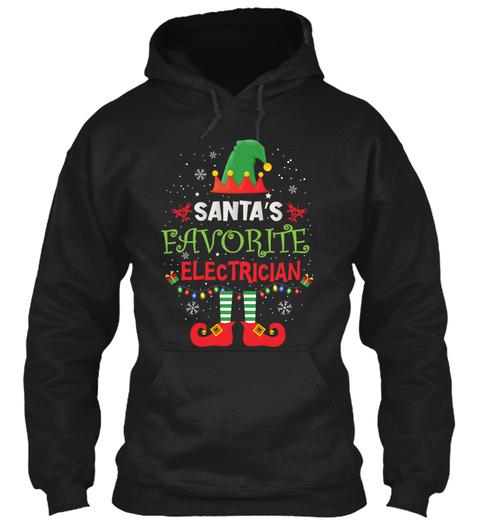 Santa's Favorite Electrician Black T-Shirt Front