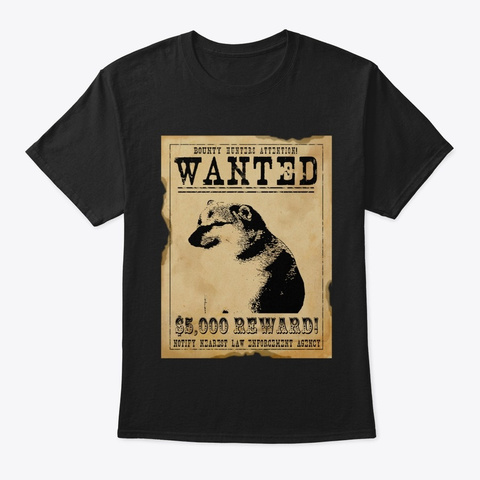 Cheems Wanted Poster Black T-Shirt Front