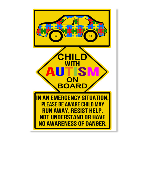 Child With Autism On Board White Sticker Front
