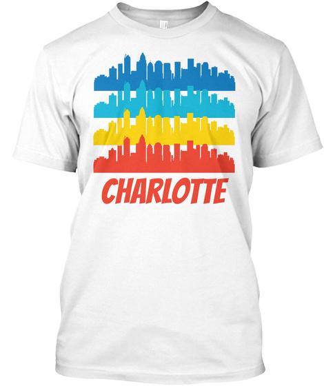 Retro Charlotte Nc Skyline Pop Art White T-Shirt Front
