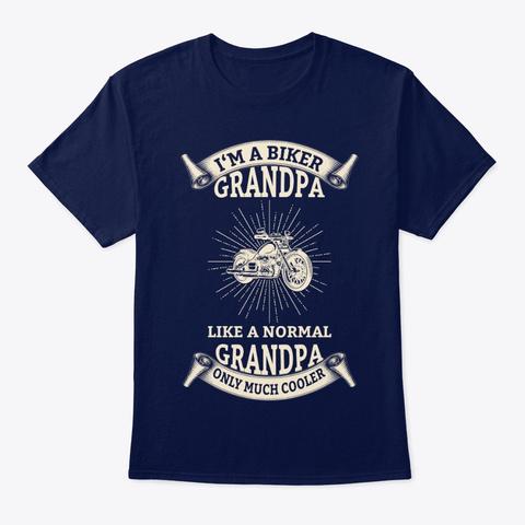 I'm A Biker Grandpa Navy T-Shirt Front