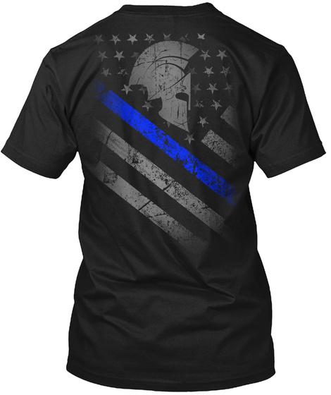 Thin Blue Line Spartan   Law Enforcement Black T-Shirt Back