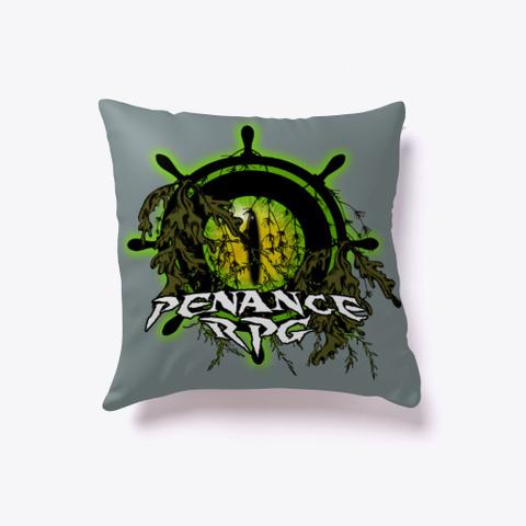 Penance RPG, Halloween Logo, Medium Grey T-Shirt, cushion, green eye logo with Penance RPG wheel and seaweed