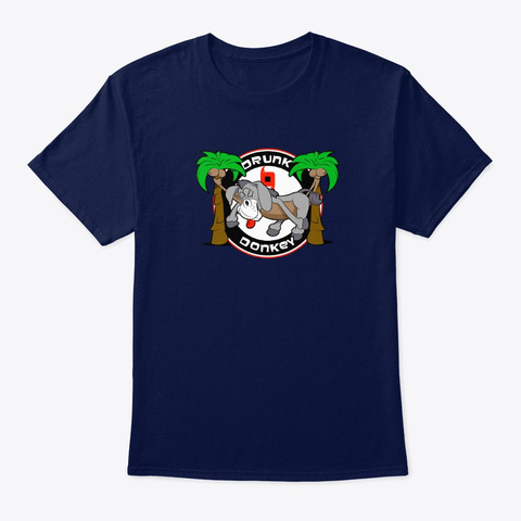 Drunk Donkey Sleeping Navy T-Shirt Front