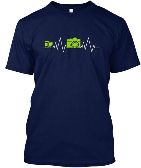 Camera Heartbeat Photographer Heartbeat Navy T-Shirt Front