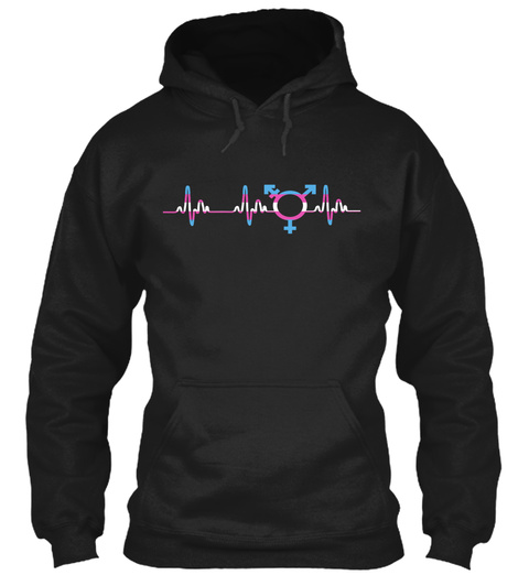 Transgender Heartbeat T Shirt, Clothing Black Sweatshirt Front