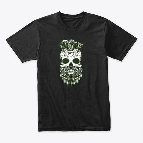 Halloween   Sugar Skull With A Beard Black T-Shirt Front