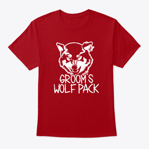 Grooms Wolf Pack Bachelor Party Rehersa Deep Red T-Shirt Front