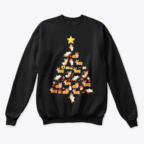 Corgi Christmas Tree Shirt Black T-Shirt Front