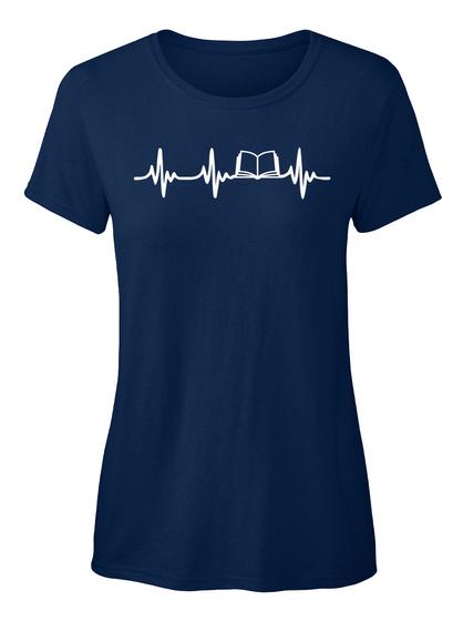 Books Heartbeat Navy Women's T-Shirt Front