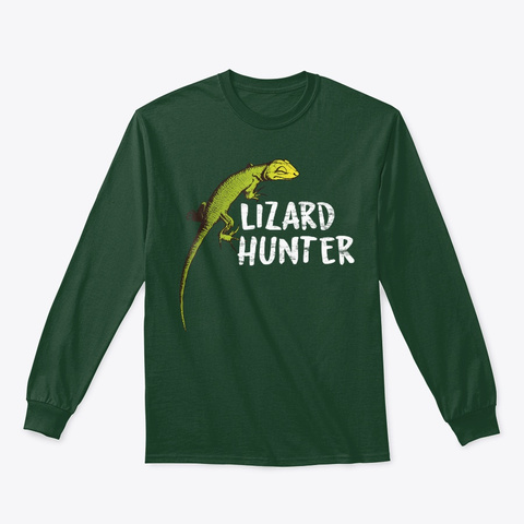 Lizard Hunter T Shirt Anole Reptile Lover Forest Green T-Shirt Front