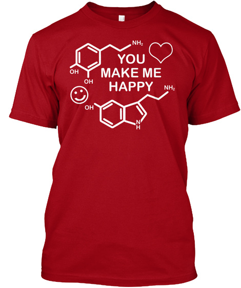 Chemistry Valentines Day  Science Art Deep Red T-Shirt Front