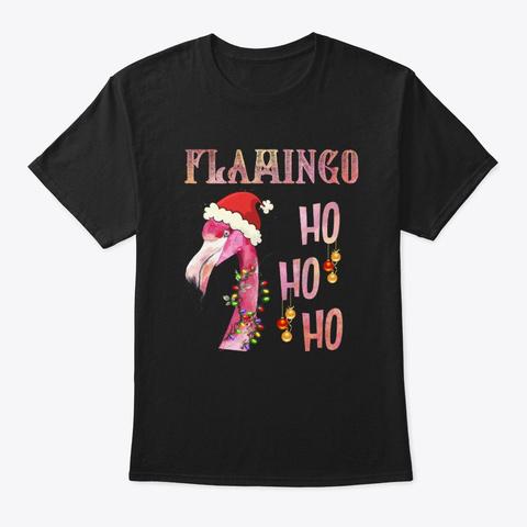 Flamingo Ho Ho Ho Merry Christmas Pink S Black T-Shirt Front