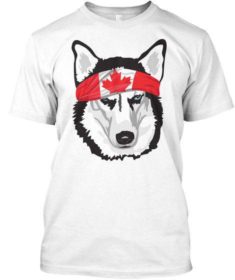 Siberian Husky   Canada  White T-Shirt Front