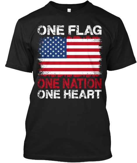 One Flag One Nation One Heart Black T-Shirt Front