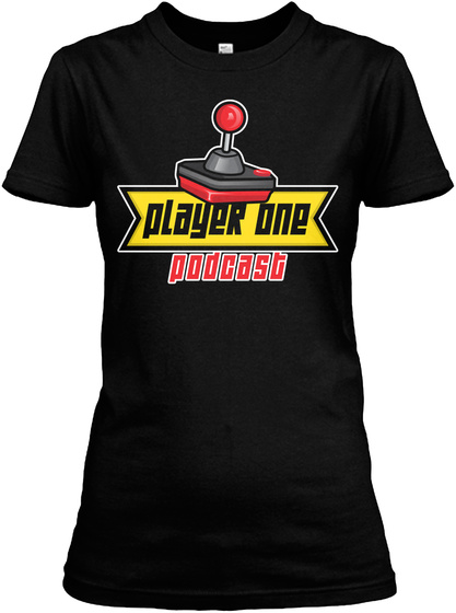 Player One Podcast Black T-Shirt Front