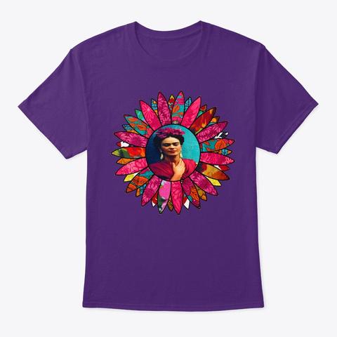 Kahlo Retro Pink Flower Purple T-Shirt Front