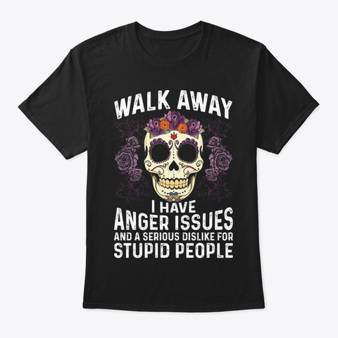 Walk Away Funny T Shirt Hilarious Black T-Shirt Front