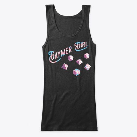 Gaymer Girl Trans (Dice) Black T-Shirt Front