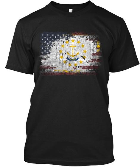 Rhode Island Usa Black T-Shirt Front
