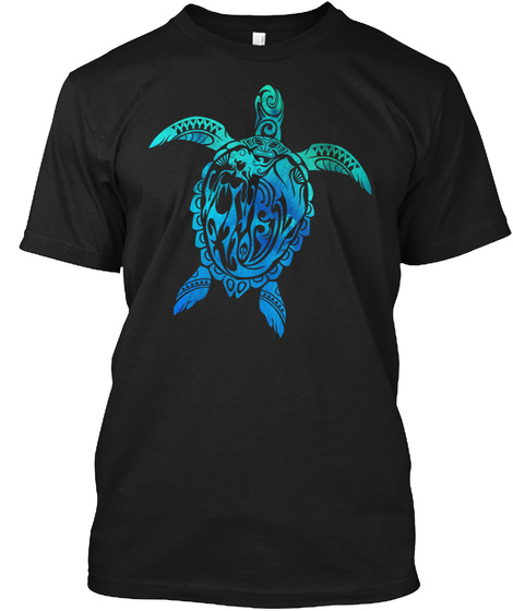 T Shirt Turtle Art Black T-Shirt Front