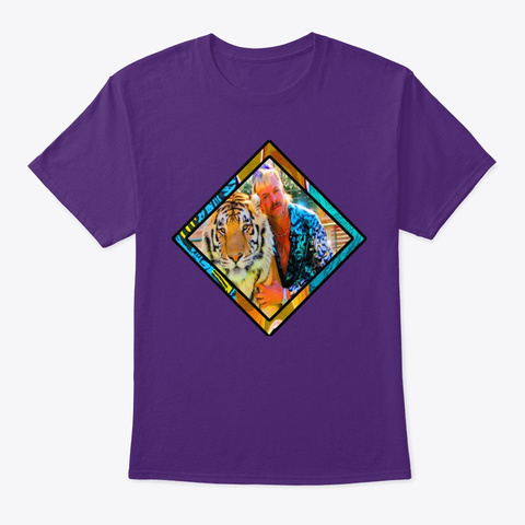 Retro Tiger King 2 Purple T-Shirt Front